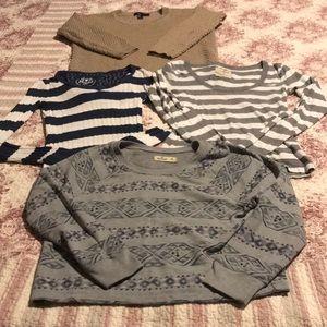 Bundle of 4 long sleeve sweaters, sweatshirt & Tee